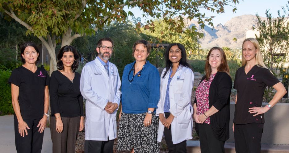Members of the UA Cancer Center Breast Cancer Team, from left to right: Kimberly Ann Fitzpatrick, MD; Sima Ehsani, MD; Victor Gonzalez, MD; Kathryn Clarke, NP; Pavani Chalasani, MD, MPH; Rebecca K. Viscusi, MD; Marisa H. Borders, MD